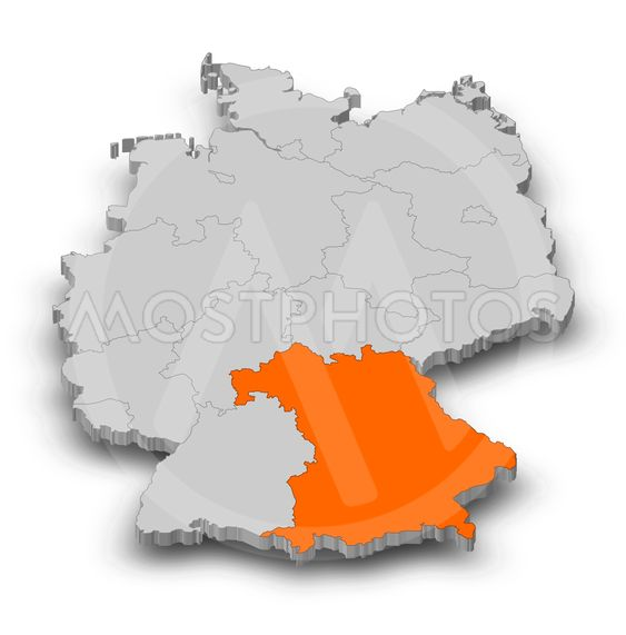 Map - Germany, Bavaria - 3D-Illustration