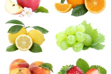 Food collection fruits apple orange grapes berries...