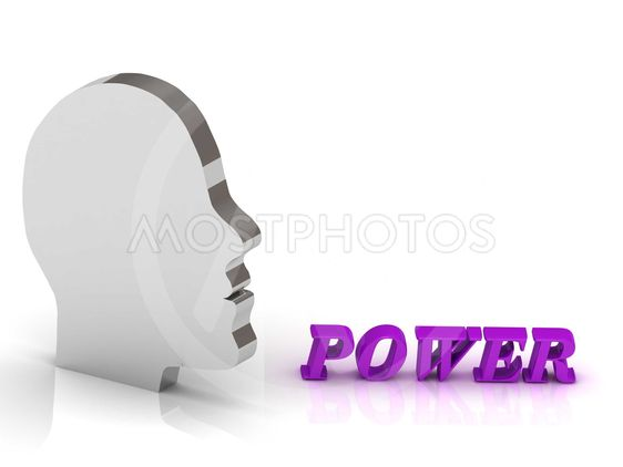 POWER bright color letters and silver head mind