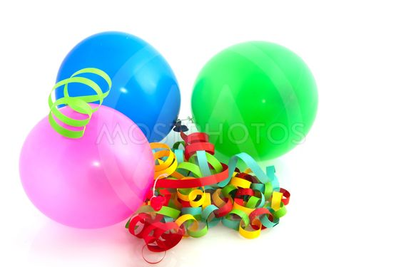 Colorful balloons and paper chains