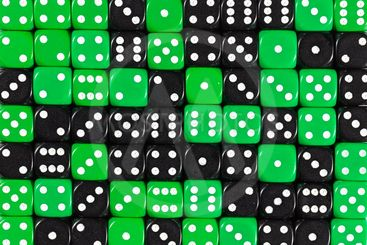 Background of 70 random ordered black and green dices