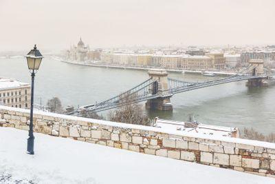Winter snowy panoramic view of Budapest