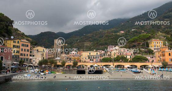 The coastline of Monterosso touristic village at cinque...