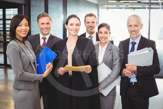 Lawyer standing together with businesspeople
