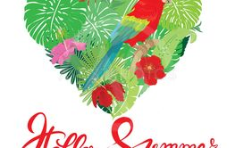 Seasonal card with Heart shape, palm trees leaves and Red...