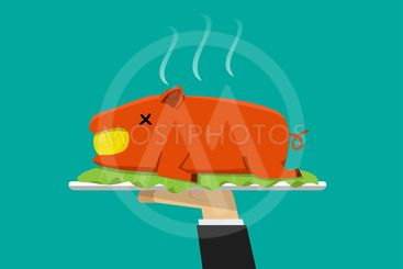 Waiter hand serving grilled suckling pig on plate
