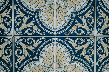 Background made of a portuguese tiles with a mosaic in it