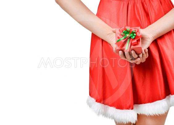 Santa woman  holding a gift box
