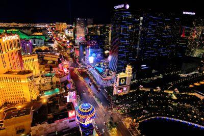 Aerial view of Las Vagas strip at night, Nevada