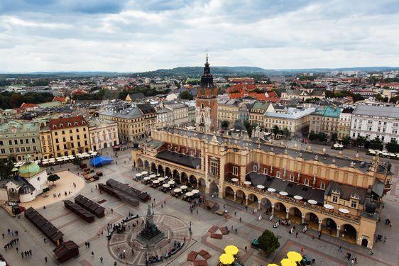 Krakow, Poland, main market square, top view.