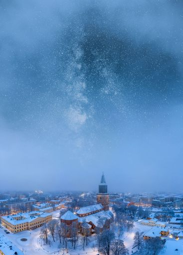 Aerial of Turku city center and the Cathedral in Finland