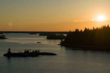 Beautiful summer sunset in the baltic sea. Stockholm...