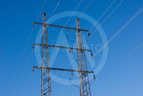 Power wire with blue sky