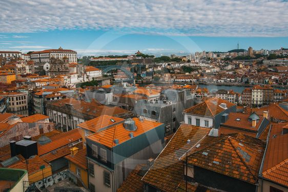 Bird's-eye view old downtown of Porto, Douro river and...