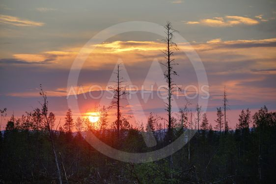 HDR image of colorful sunset in northern Sweden