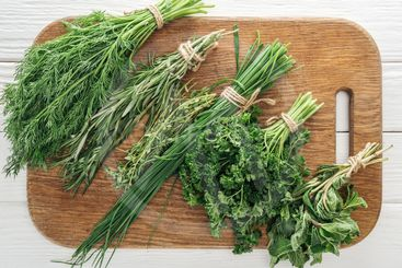 top view of parsley, rosemary, dill, green onion, basil...