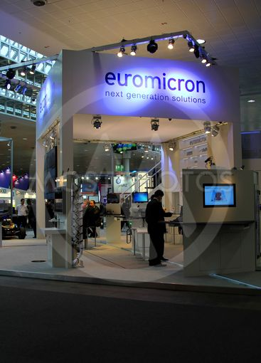 HANNOVER - MARCH 10: stand of Euromicron on March 10,...