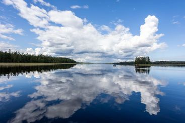 Typical finnish lake landscape in summer in Finland