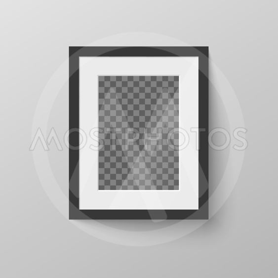 Black blank picture frame with transparent place for...