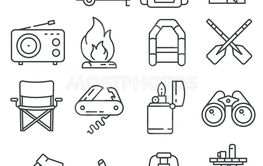 Line Hiking and Camping Icons Set. Vector