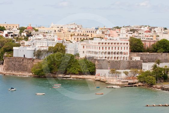 Many Colorful Buildings on Coast of Puerto Rico