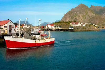 Norwegian boat in lofoten island