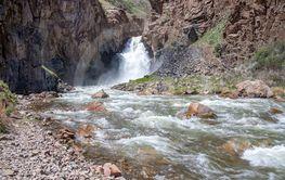 Waterfall 33 parrots Naryn region Kyrgyzstan. Travel....