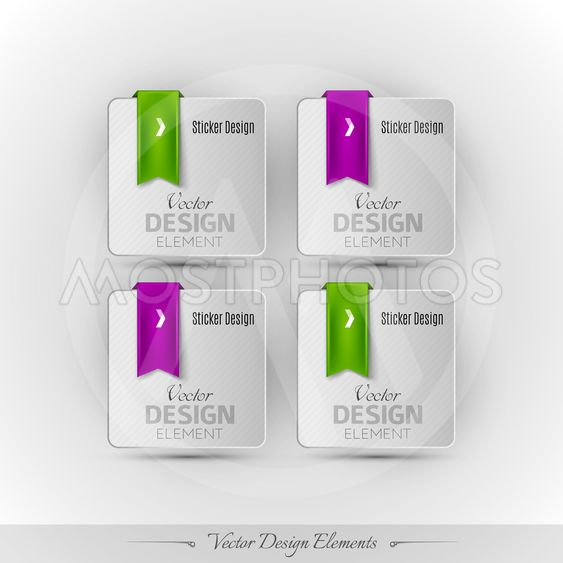 Business stickers on the gray background. Vector design...