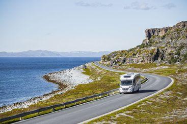 A travel caravan aka camper van in northern Norway