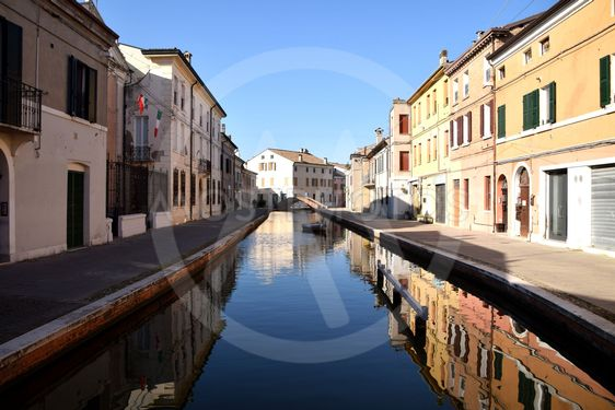 Ancient lagoon houses on the canal in the center of the...