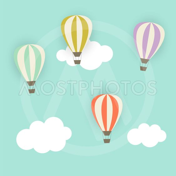 Retro Pattern with Air Balloons Vector Illustration