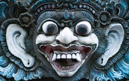 Ancient Balinese statue at the temple