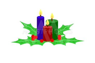 Christmas candles and leaves isolated on white