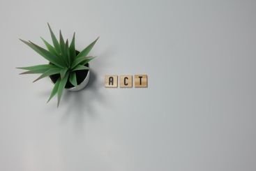 The word Act written in wooden letter tiles on a white...
