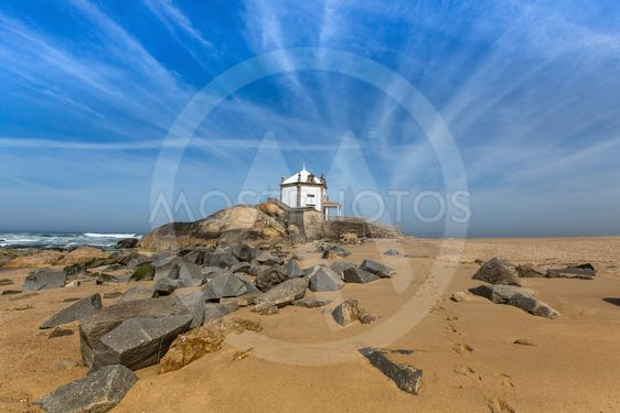 Miramar Beach and Chapel Senhor da Pedra, Atlantic ocean...