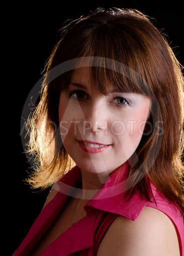 portrait of beautiful girl with brown hair and grey eyes