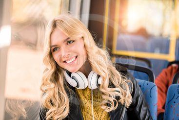 happy girl in bus