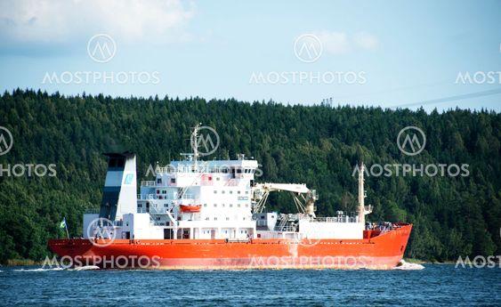 Bulkfartyg M/S Sunnanvik lämnar Södertälje hamn
