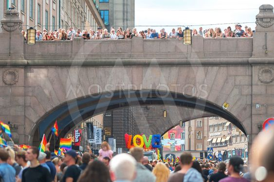 Pride parade in Stockholm and the parade going at...