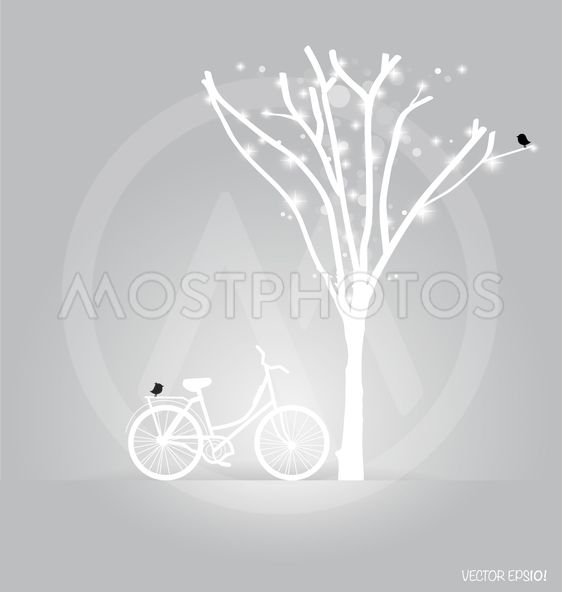 Vector background with bicycle under tree. Vector...