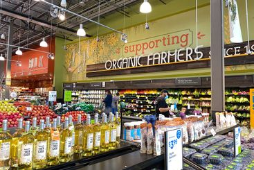 The fresh produce aisle of a Whole Foods Market grocery...