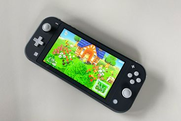 A Nintendo Switch Lite with the game Animal Crossing New...