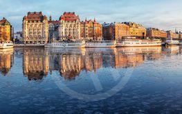 Stockholm Nybroviken in winter, panorama.