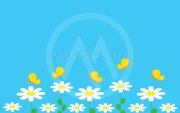 colorful background with flowers and butterfly
