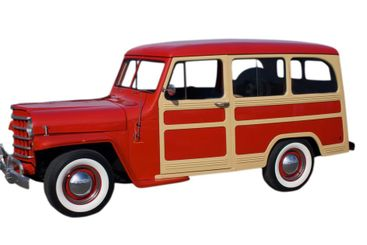 red and beige classic wagon
