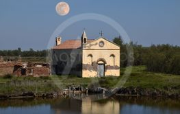 The remains of an old abandoned church on the coast of...