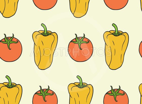 seamless pattern from vegan food - tomato, bell pepper