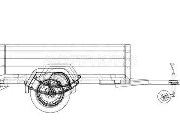 Open trailer sketch. Vector