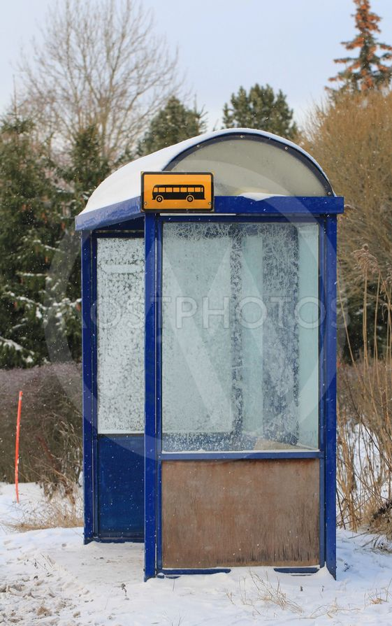 Local Bus Stop Shelter in Winter Frost