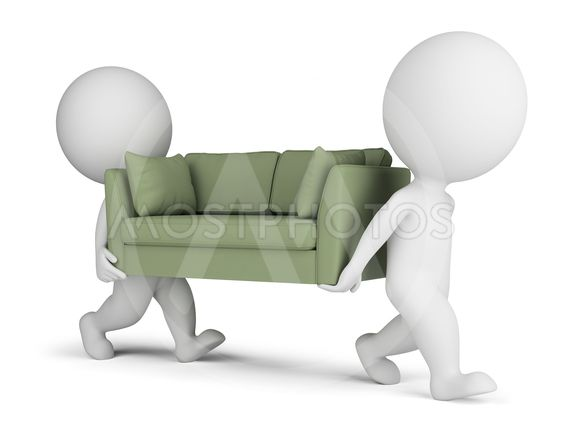 3d small people carry a sofa